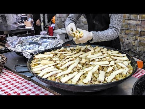 "French ""Tartiflette"" Made in the Street of London. French Street Food"