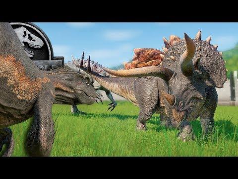 STEGOCERATOPS VS INDOMINUS REX & INDORAPTOR! | Jurassic World - Evolution | Secrets of Dr. Wu DLC |