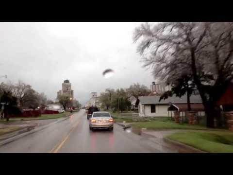 Ice, thunder, sleet and hail in El Reno, OK - April 10, 2013