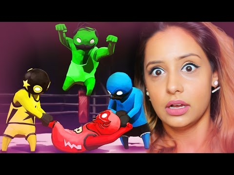 BIGGEST WRESTLING TAKE DOWN EVER !!!! (MY SISTERS PLAY GANG BEASTS)
