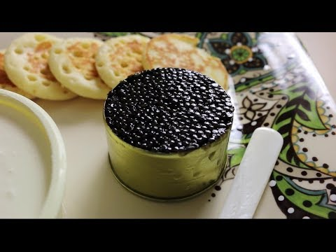 Eating Iranian sevruga caviar from Caviar Express in Los Angeles
