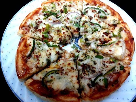 Veg Pizza | Pizza Recipe | Veg Pizza Microwave Grill |  Onion Capsicum Pizza Recipe