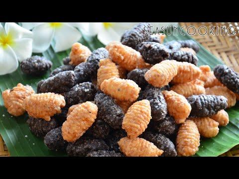 ขนมด้วง ขนมพื้นบ้านไทยโบราณของภาคใต้ กรอบนอกนุ่มใน หอมมันจากมะพร้าวขูด