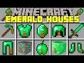 Minecraft EMERALD HOUSES MOD l SPAWN INSTANT EMERALD STRUCTURES! l Modded Mini-Game