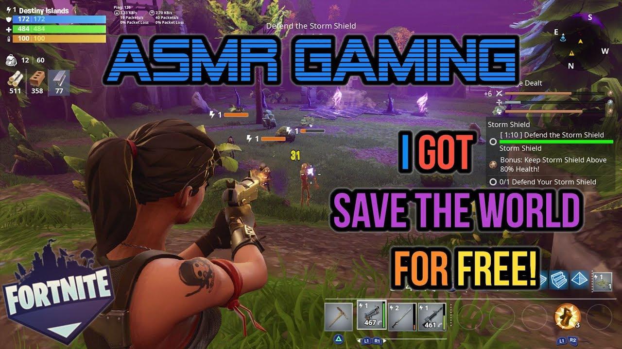 Asmr Gaming Fortnite I Got Save The World For Free Skins