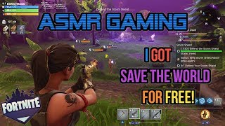 ASMR Gaming | Fortnite I Got Save The World For Free! + Skins ★Controller Sounds + Whispering☆