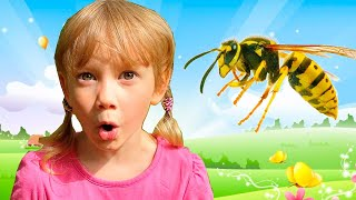 Alena plays with a Toy Bee amusing stories for kids