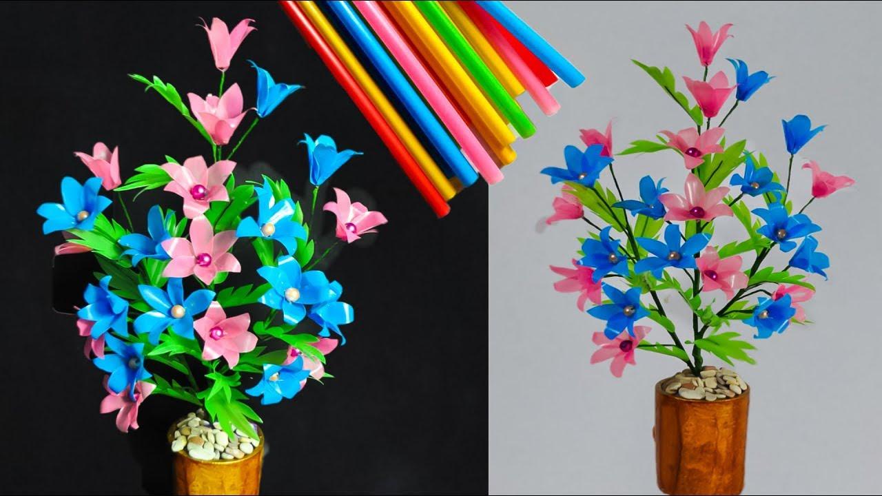 Cara Membuat Bunga Dari Sedotan Kreatif 2 How To Make The Latest Straws Flower Youtube