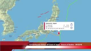 6.4 Earthquake Strikes off Coast of Japan - Large Swarm - 09/22/16