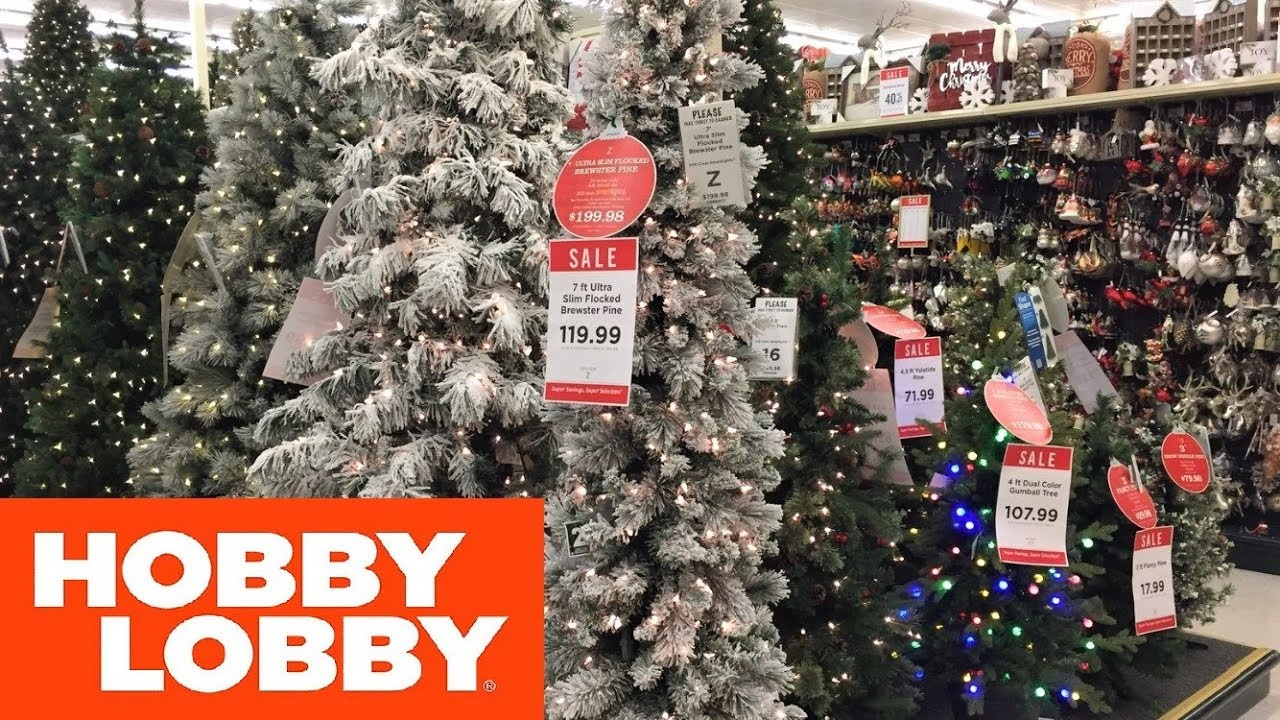 HOBBY LOBBY CHRISTMAS DECORATIONS TREES HOME DECOR - SHOP WITH ME SHOPPING  STORE WALK THROUGH 4K