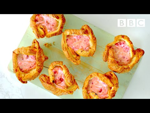 Go all out w/ raspberry cheesecake croissants! 😋 💋 | Nadiya's Time to Eat - BBC