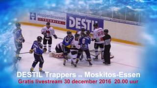 Gratis livestream DESTIL Trappers vs Moskitos Essen op 30 november 2016.