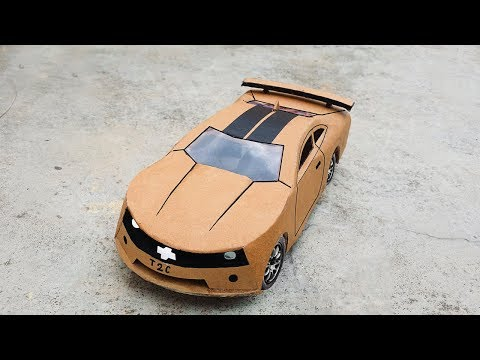 How to make Electric Super Toy Car using cardboard Very Simple | chevrolet camaro