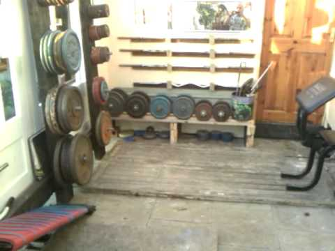 homemade gym plate rack stand tree & homemade gym plate rack stand tree - YouTube