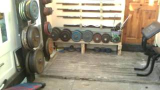 Homemade gym plate rack stand tree