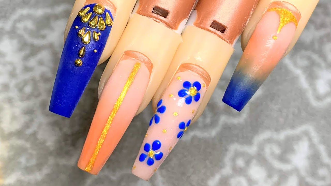 Orange And Blue Ombre Acrylic Nail Tutorial Youtube
