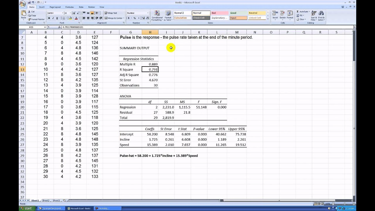 Regression analysis of project data