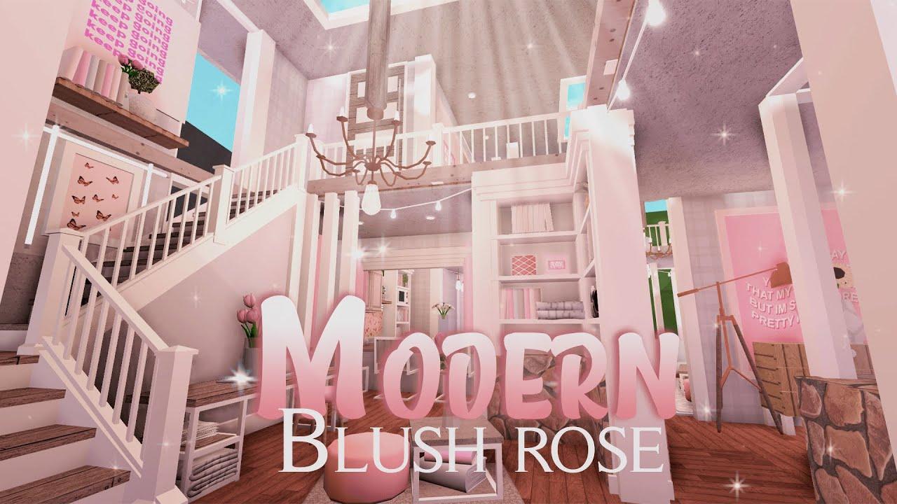 Roblox Bloxburg Modern Blush Rose Villa House Build Youtube