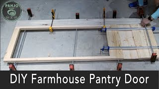 DIY Farmhouse Pantry Door with Glass // EASY Paint Distressing Technique