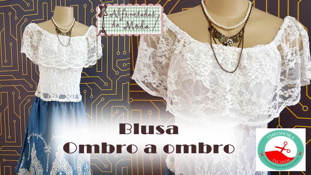7257a15ec DIY- Blusa Ombro á Ombro + Molde - Curso de Corte e Costura - Passo a Passo