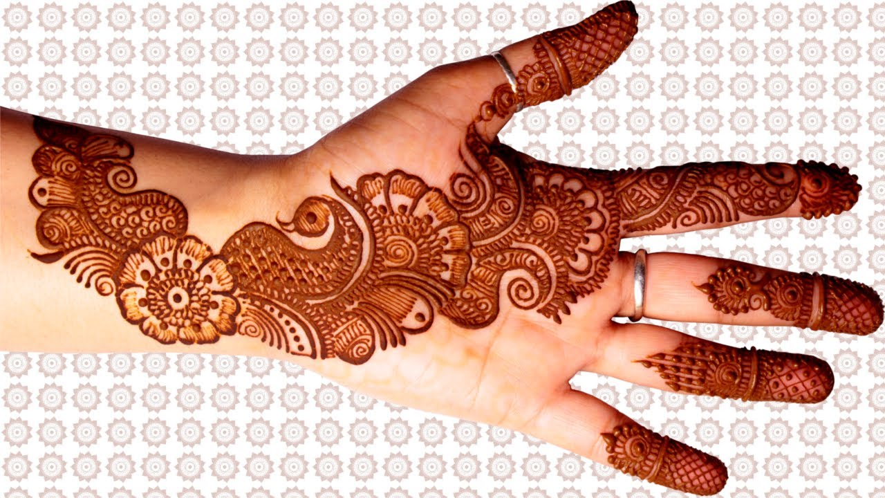 rajasthani floral mayur mehndi in bail pattern mehndi design for hands