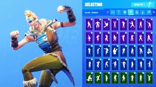 HUNTRESS SKIN SHOWCASE WITH ALL FORTNITE DANCES & EMOTES