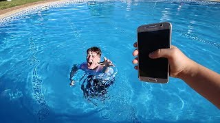 Little brother throws my phone in pool (I got mad...)