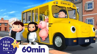 Wheels On The Bus - School Song | +More Nursery Rhymes | ABCs and 123s | Little Baby Bum