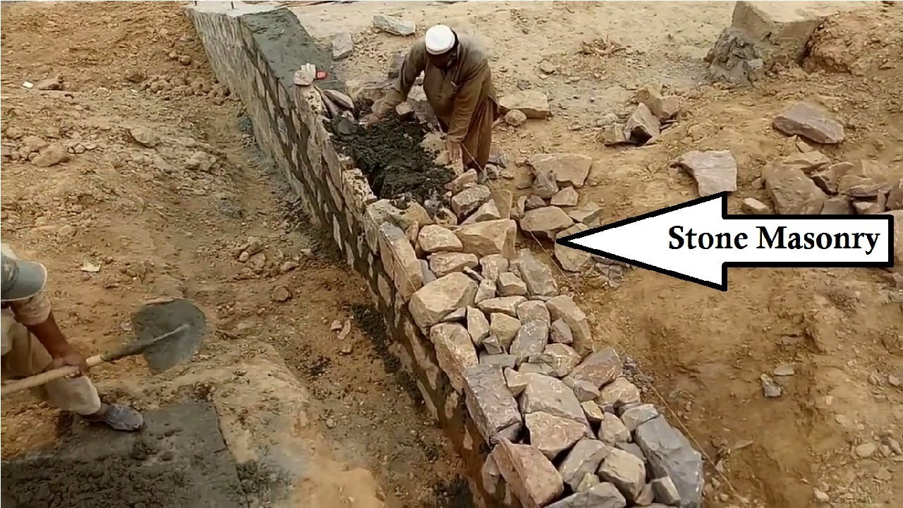 Retaining Wall Construction With Stones In Urdu Hindi Youtube