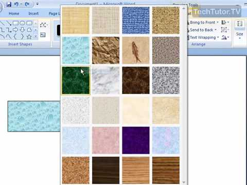 Fill a Shape with a Texture in Word 2007 - YouTube