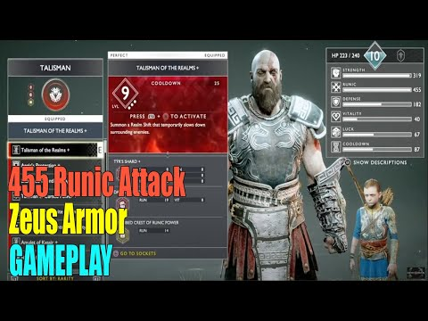 God Of War NG+ - Best Build God Zeus Armor (455 Runic Attack) All Runic Enchantments | Crazy Damage
