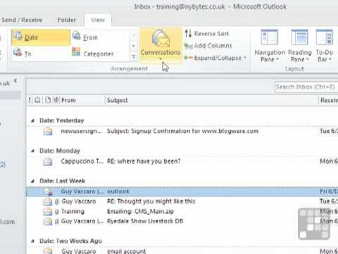 Outlook 2010 Tutorial - Viewing Emails with without their Conversation Thread