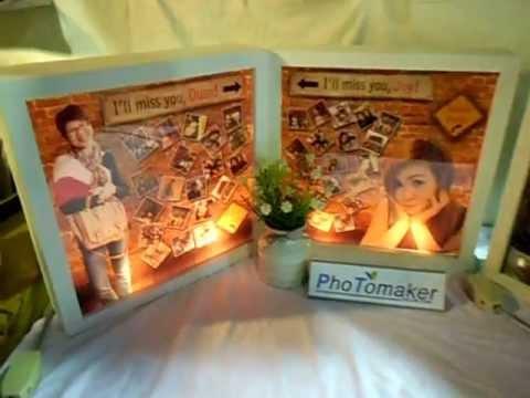 ของขวัญวันเกิด มิกซ์รูป และทำโคมไฟ กรอบกล่องกระจก 10x10 นิ้ว