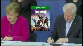 He gives Merkel FORTNITE to Solve migrant crisis.