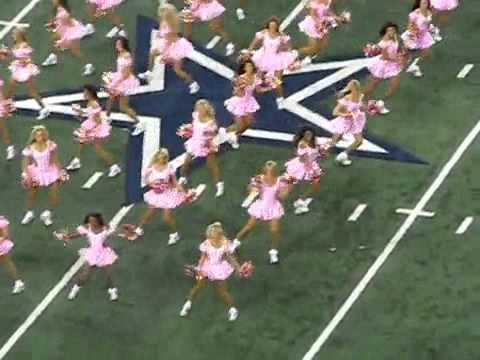 The Dallas Cowboys Cheerleaders wear pink for breast cancer research