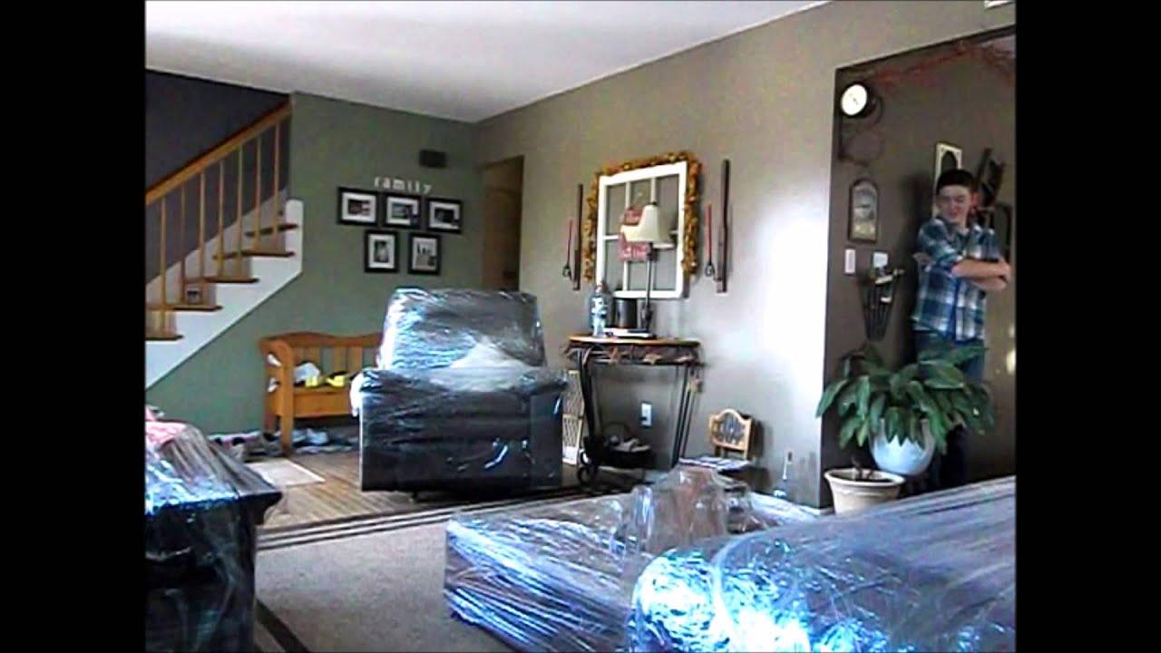 Saran wrap living room prank youtube for Room wraps