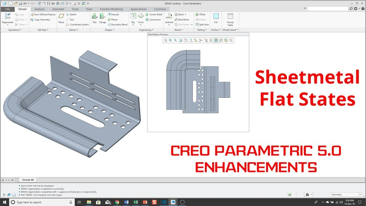Creo Parametric 5 0 Enhancements Sheet Metal Flat Reps