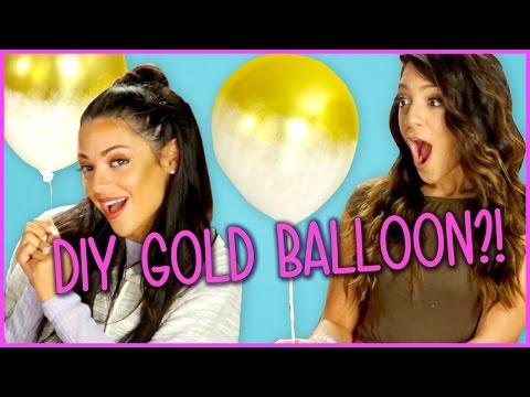 DIY Gold Dipped Balloons?!   Niki And Gabi DIY or DI-Don
