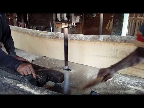 Wood Cutting First by Hand Saw Blade and Then Cutting By Electric Saw Michine in Rural Village BD