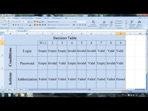Видео 30. Таблицы принятия решений. Decision Tables Testing