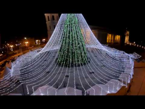 The Christmas tree in Cathedral Square in Vilnius, Lithuania, 2016 - 2017. Quanum Nova