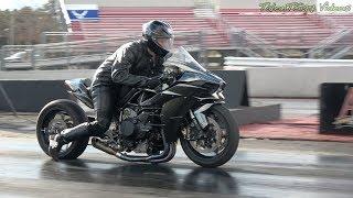 Tuned Supercharged Kawasaki H2 runs 8.95@163mph
