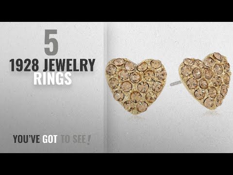 10 Best 1928 Jewelry Design Rings: 1928 Jewelry Heart of Hearts Gold-Tone Topaz Pave Heart Button