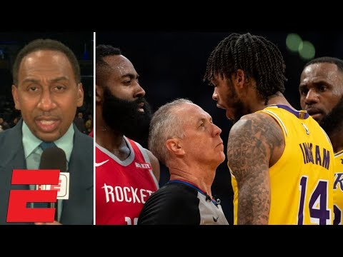 Stephen A. reacts to Lakers vs. Rockets fight during LeBrons Staples Center debut | SportsCenter