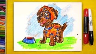 Щенячий Патруль ЗУМА щенок / Урок рисования для детей