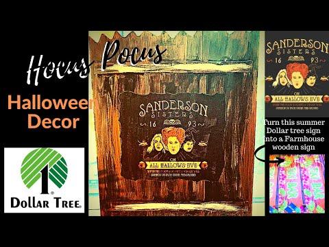 Hocus Pocus DIY, Wood Fence Halloween Décor using Dollar tree Items.