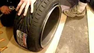"""streching 205/45/15 tyres on 9"""" schmidt wheel... EPISODE 1"""