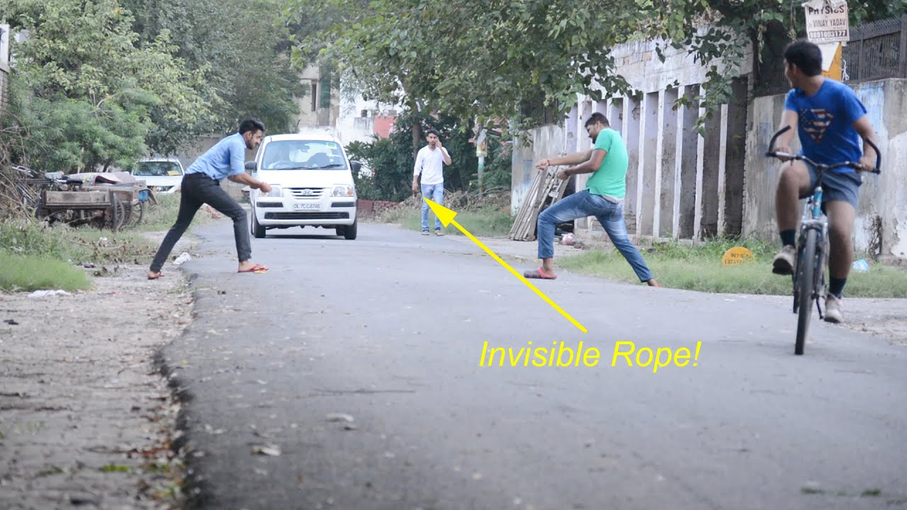 Funny Pranks: Invisible Rope Prank