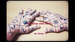 Behelfs Handschuhe selber nähen aus Jersey Stoff. Corona DIY Tutorial
