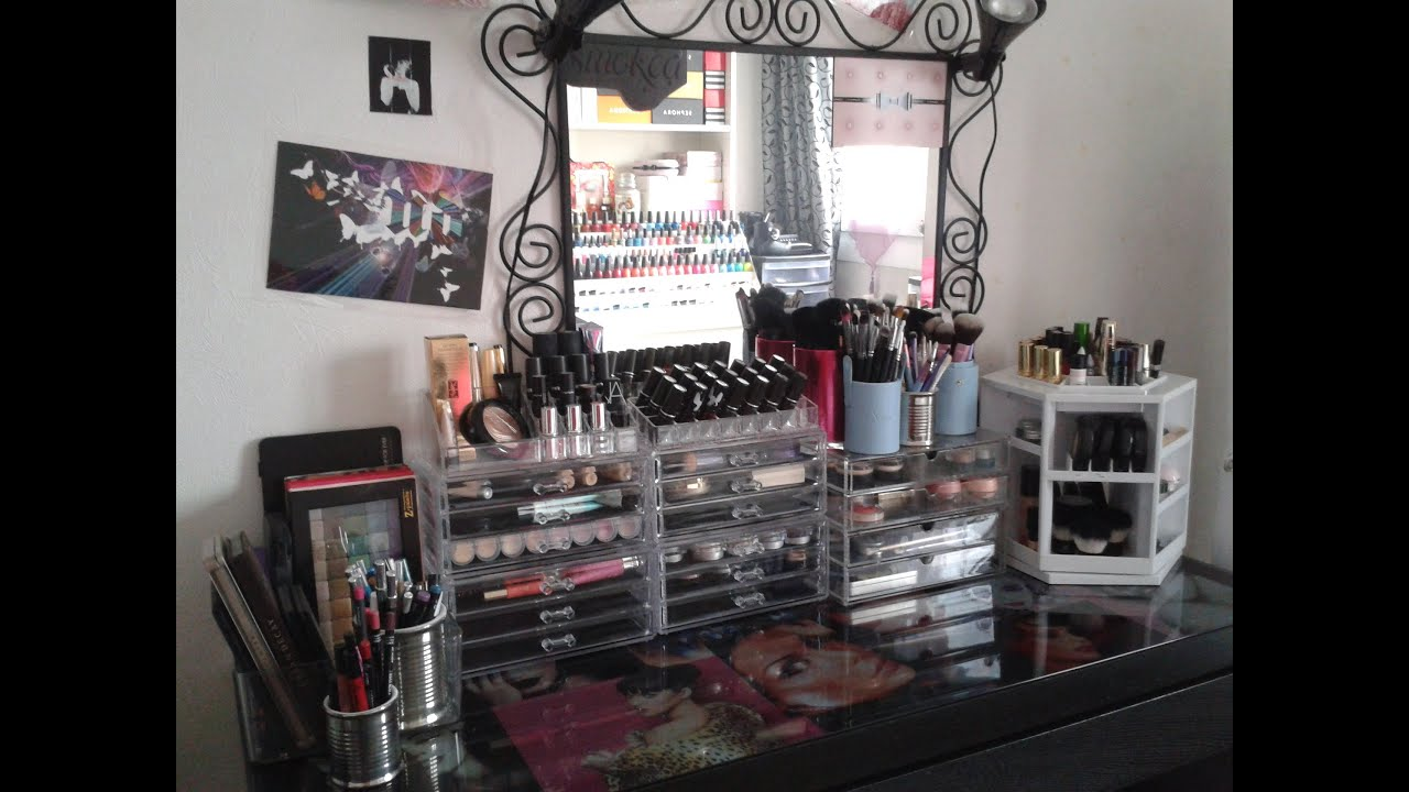 mon rangement make up room tour youtube. Black Bedroom Furniture Sets. Home Design Ideas
